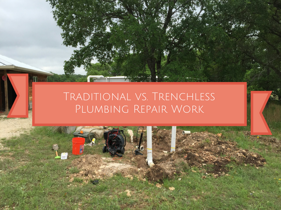traditional versus trenchless plumbing repair work