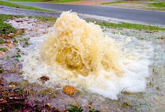 sewer pipe bursting - water leak