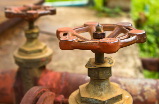 old water pipes and valves